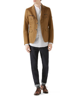 Tan Washed Army Jacket, Duke White Poplin Shirt & Dark Clean Wash Basic Denim w/ Stirrup Back
