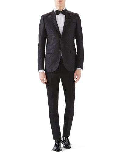 Black Emerald Pattern Jacquard Evening Jacket, White Tux Pleated Bib Shirt w/ French Cuffs & Black Skinny Tux Pants w/ Satin Waist