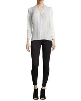 Ann Silk Zip-Front Blouse & Azella Moto Skinny Jeans