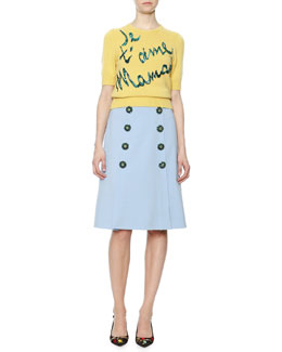 Je t'Aime Mama Sequined Sweater & Bijoux Faux-Button A-Line Skirt