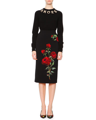Pearlescent Amore Applique Sweater & Rose Applique Pencil Skirt