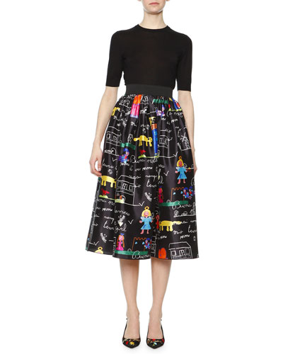 Half-Sleeve Knit Top & Children's Drawing-Print Midi Skirt