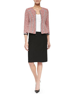 Arriba Tweed Blazer with Ribbon Trim, Tempter Corset Top with Sweetheart Neckline & Heart Slayer Slim Straight Skirt