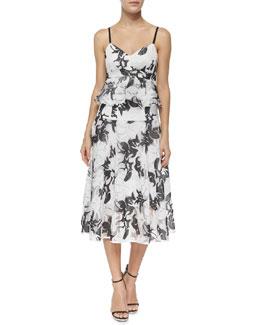 Castaway Peplum Crop Top & Escapade Midi Floral-Print Skirt
