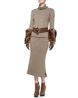 Heathered Cashmere Turtleneck Sweater, Long Heather Cashmere Midi Skirt, Suede Antler-Buckle Belt, Suede & Shearling Trapper Hat & Three-Quarter Suede Glove with Shearling Cuffs