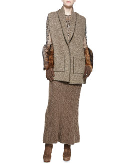 Long-Sleeve Embroidered Tulle Top, Long Cable-Knit Cashmere Skirt, Cashmere Melange Scarf W/Pockets, Suede & Shearling Trapper Hat & Three-Quarter Suede Glove with Shearling Cuffs