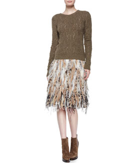 Textured Cashmere Crewneck Sweater & Natalia Beaded Feather Skirt