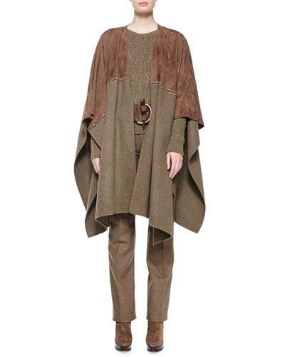 Melange Two-Tone Splittable Coat, Textured Cashmere Crewneck Sweater, Suede Antler-Buckle Belt & Worsted-Wool Straight-Leg Pants