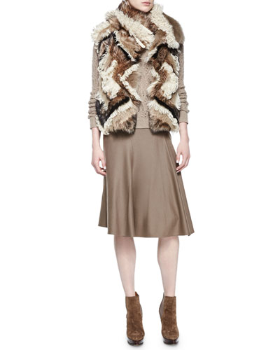 Long Hair Shearling Fur Vest, Textured-Cashmere Turtleneck Sweater & Cassandra Worsted-Wool Skirt