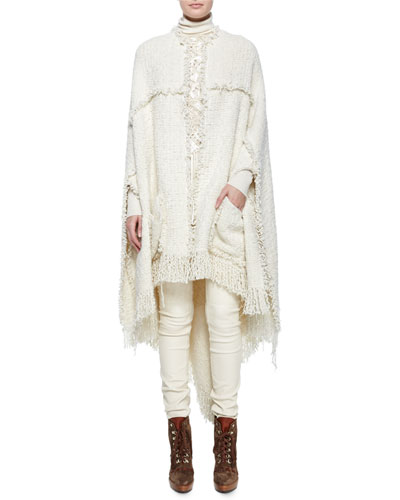 Fillmore Soft Boucle Cape w/ Fringe, Embroidered Silk Crochet Top, Super Cashmere Long-Sleeve Turtleneck & Eleanora Stretch Leather Pants