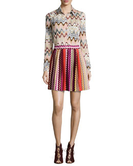 Crinkled Wave-Print Blouse & Zigzag Pleated Mini Skirt