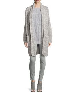 Oversized Long-Sleeve Car Coat, Waterfall Ribbed Long-Sleeve Sweater & Riley Skinny-Fit Denim Jeans