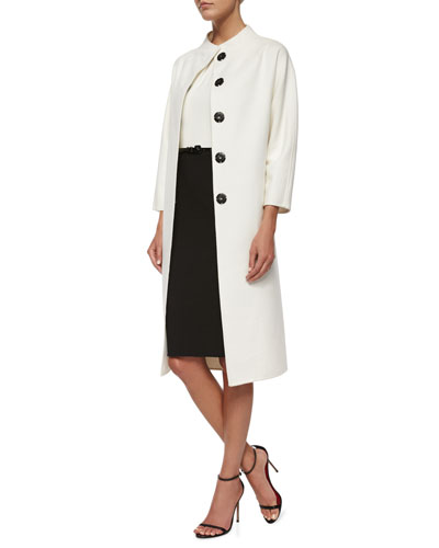 Double-Faced Belted Wrap Coat & Two-Tone Pintucked Combo Dress