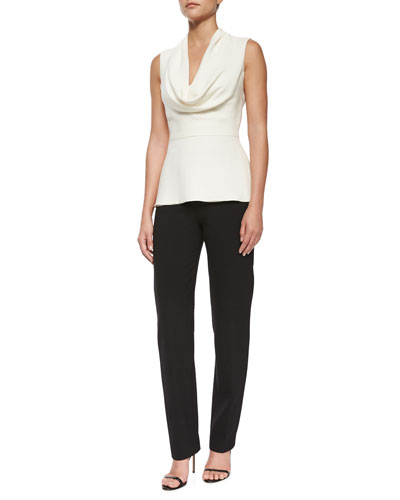 Cowl-Neck Peplum Top & Double-Face Wool Skinny Pants