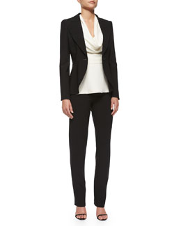 Peaked-Sleeve One-Button Blazer, Cowl-Neck Peplum Top & Double-Face Wool Skinny Pants