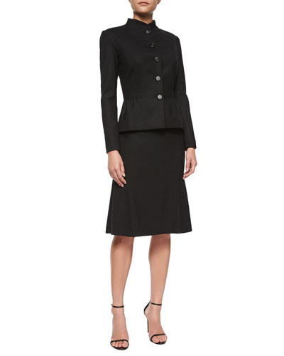 Split-Peplum Button Jacket & Stretch-Woven Flounce Skirt
