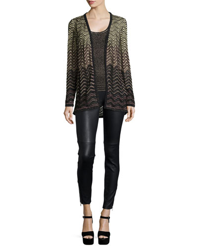 Metallic Ripple-Stitch Cardigan & Scoop-Neck Metallic Tank