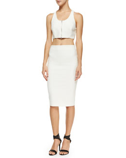 Harlow Cropped Zip-Front Top & Aisling Pencil Skirt