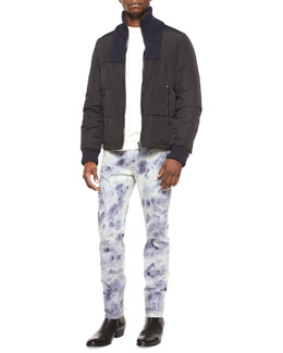 Nylon Puffer Jacket with Knit-Bib, Crewneck Sweatshirt with Leather Detail & Bleached Slim-Fit Denim Jeans