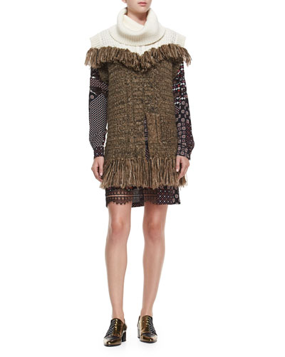 Sleeveless Fringe Tunic & Lace-Sleeve Silk Tie-Waist Dress