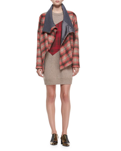 Plaid Button-Front Asymmetric Coat & Plaid Combo Sweater Dress