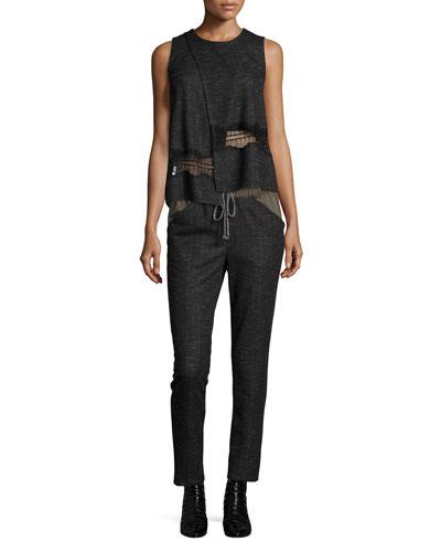 Crossover Lace-Trim Tank & Jersey Combo Tie-Waist Pants