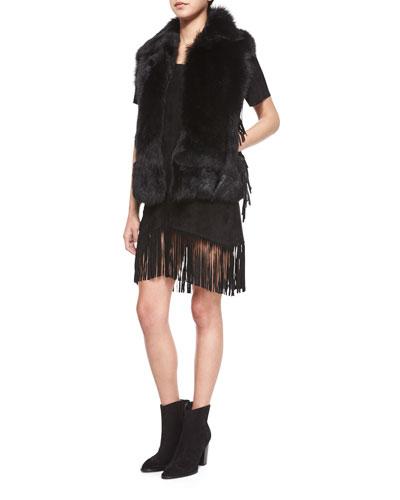 Janis Open-Front Fur Vest & Short-Sleeve Fringe Dress
