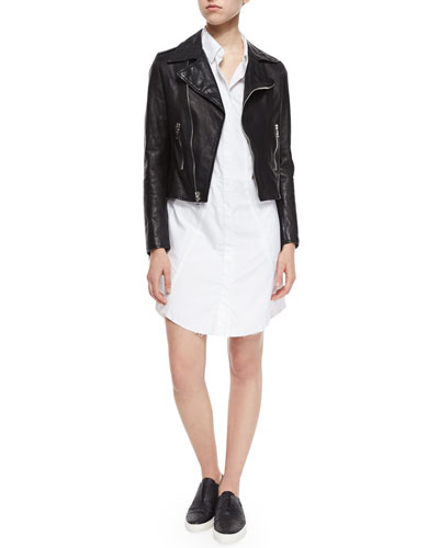 Morisson Fringe-Trim Leather Jacket & Genevieve Long-Sleeve Shirtdress