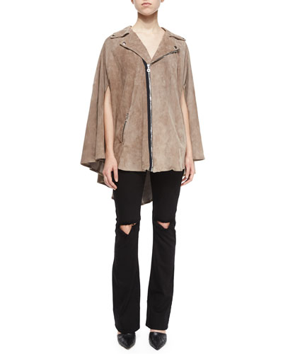 Harley Trooper Suede Cape & Jackson Distressed Bootcut Jeans