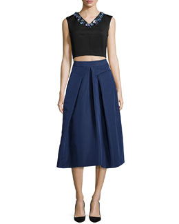 Sleeveless Beaded V-Neck Crop Top & Inverted-Pleat Midi Skirt