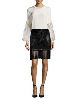 Smocked-Trimmed Ruffle-Sleeve Blouse & Fringe-Trimmed Leather Paneled Skirt