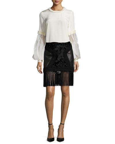 Smocked-Trimmed Ruffle-Sleeve Blouse & Fringe-Trimmed Leather Paneled Skirt