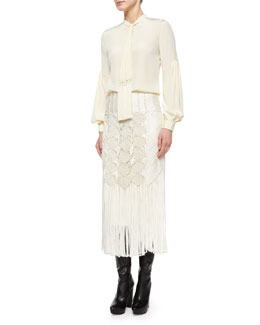 Tassel Tie-Neck Blouse & Crocheted Fringe-Trimmed Pencil Skirt