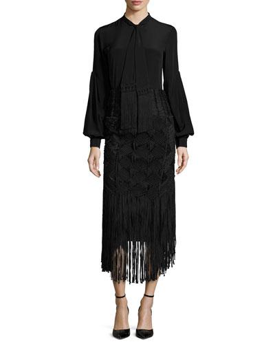 Tassel Tie-Neck Blouse & Crocheted Fringe-Trimmed Pencil Skirt