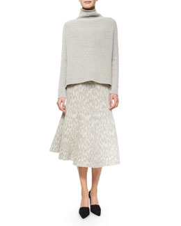 Linella Funnel-Neck Sweater & Marvita Leopard-Print Knit Skirt