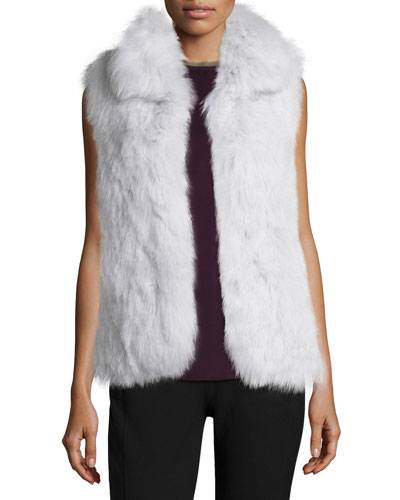Hanalee L. Knitted Fox-Fur Vest & Swintin Modern Georgette Top