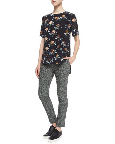 Rose-Print Lace-Inset Top & Stretch-Knit Slim-Leg Pants