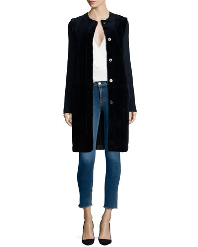 Loriely Deauville Lamb-Fur Coat & Ramalla Reversible Long-Sleeve Top