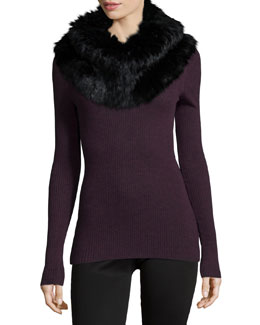 Mirzi Long-Sleeve Ribbed Sweater & Scarfurra Fur Scarf