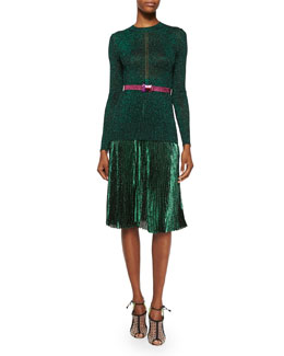 Shimmer Hemstitched Knit Sweater, Accordion-Pleated Shimmer Midi Skirt & Glitter Belt