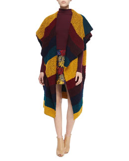 Muriel Striped Oversized Shawl, Garrison Cropped Mock-Neck Top & Loral Floral A-Line Skirt