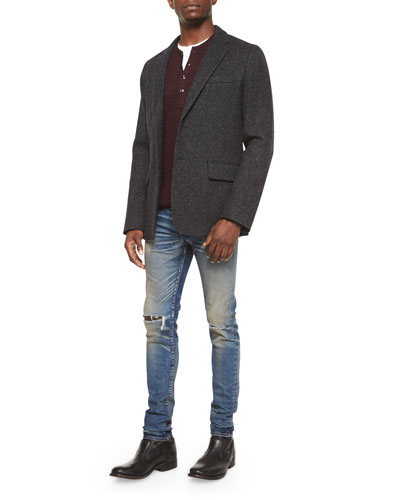 Reserve Textured Two-Button Blazer, Garrett Long-Sleeve Thermal Henley Shirt & Waterloo Distressed Skinny Jeans