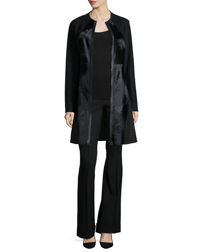 Dawson Leather/Calf-Hair Mid-Length Coat & Bailee Flare-Leg Pants