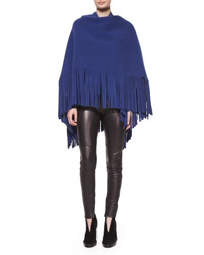 Fringe-Detail Cashmere-Blend Wrap & Stretch-Leather Leggings