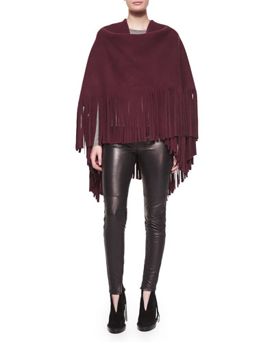 Fringe-Detail Wrap & Stretch-Leather Leggings