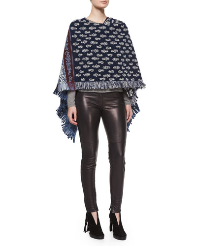 Textured Floral-Pattern Poncho & Stretch-Leather Leggings