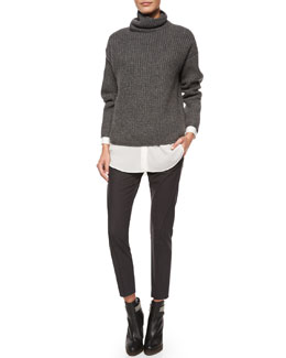 Oversized English Rib Knit Sweater, Long-Sleeve Silk-Hem Shirt & Curved Seamed Riding Pants