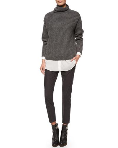 Oversized English Rib Knit Sweater, Long-Sleeve Silk-Hem Shirt & Curved Seamed Riding Pants