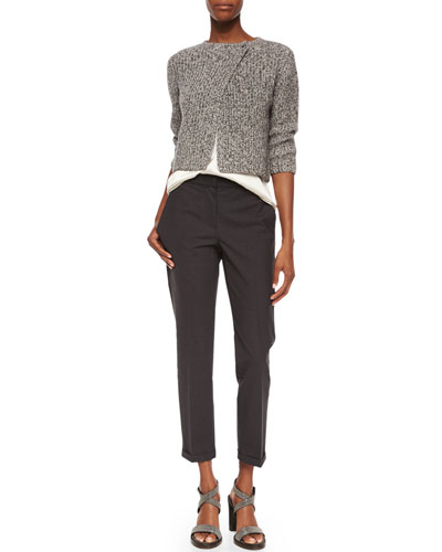 Asymmetric Tweed Paillette Cardigan & Tropical Wool Ankle Pants