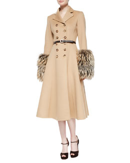 Double-Breasted Princess Coat W/Fox Fur Cuffs & Skinny Leather Belt